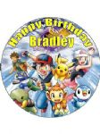 7.5 Personalised Pokemon Black & White Icing or Wafer Cake Top Topper